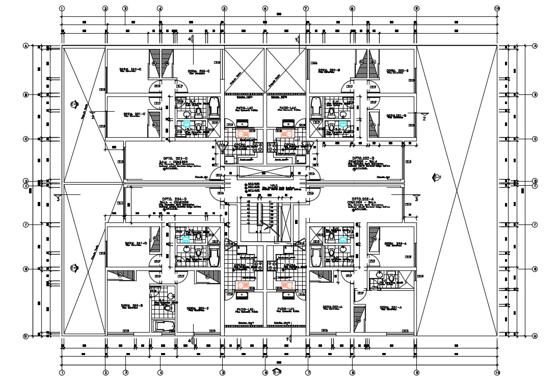Apartment First Floor Layout CAD Plan