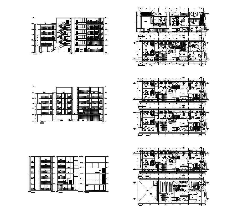 Apartment building detail CAD structure layout file