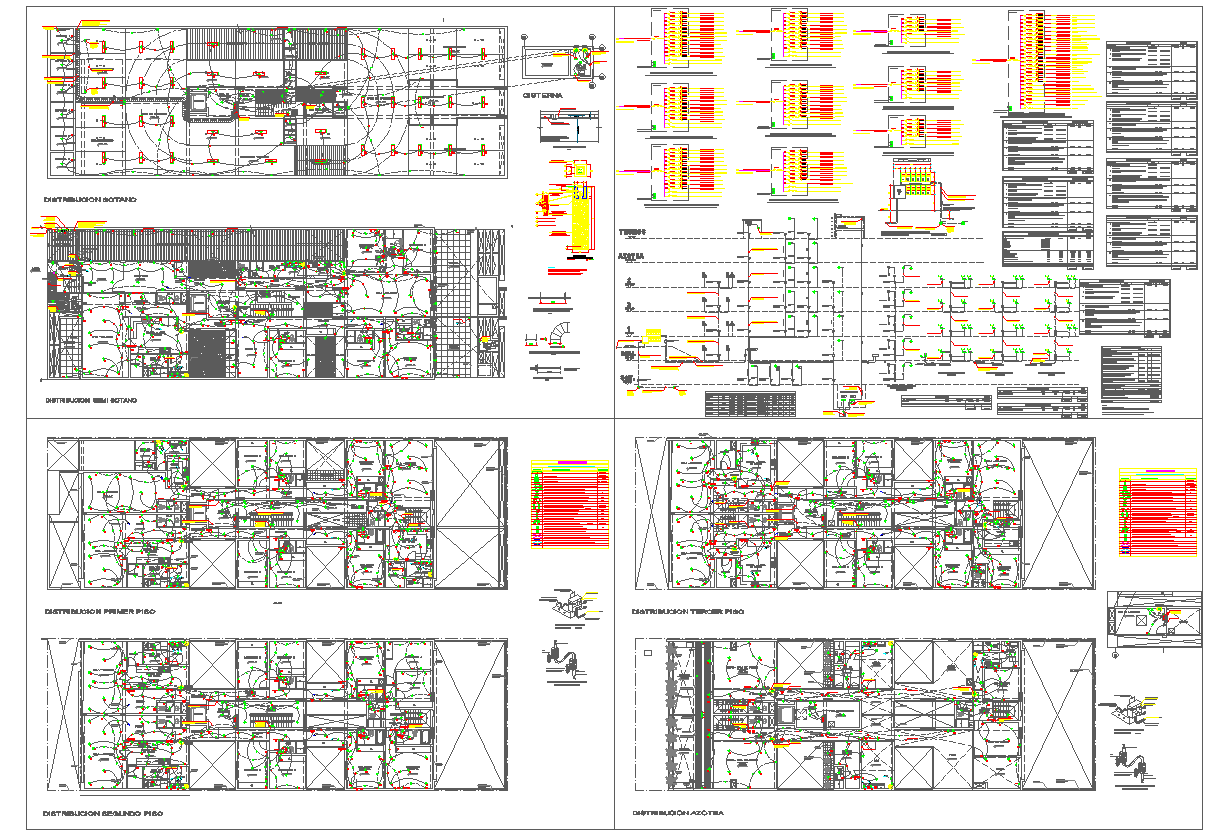 Apartment building electrical and installation detail drawing
