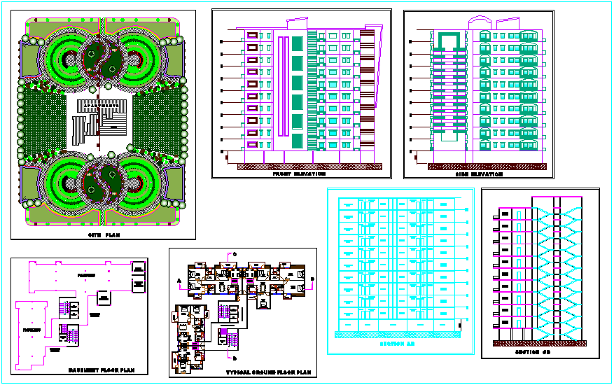 Apartment design plan view, site plan,elevation, section view dwg file