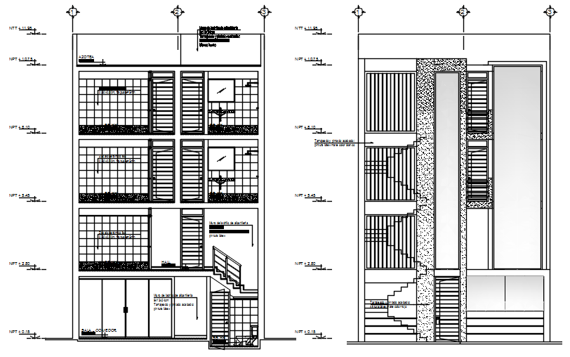 Apartment design with elevation and section in dwg file