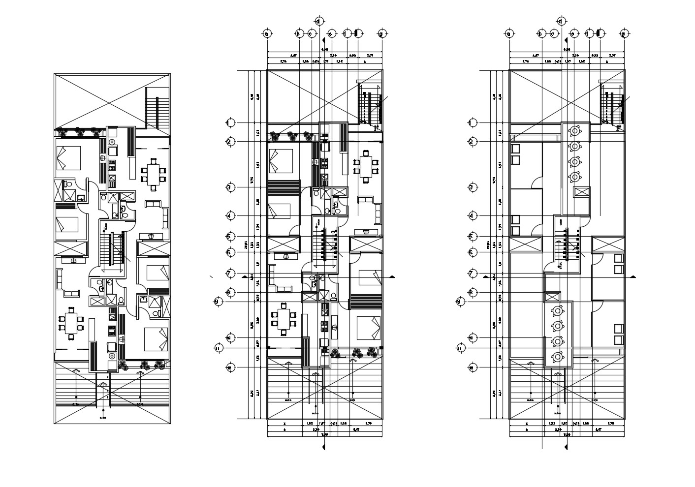 Apartment design with furniture details in dwg file