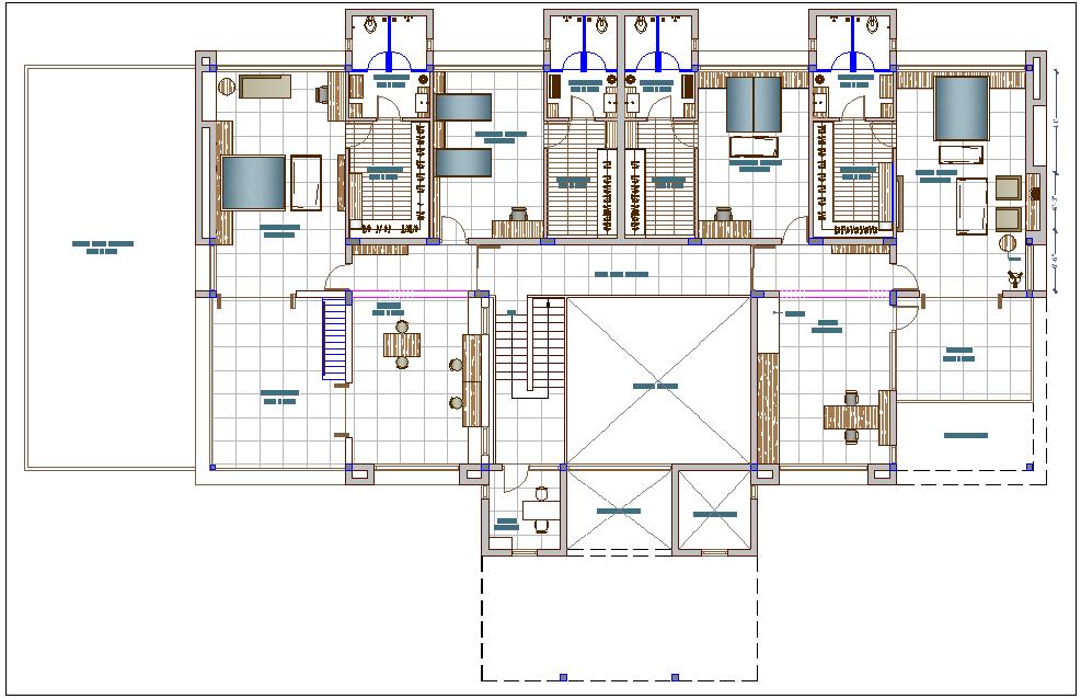 Apartment flat residential housing plan detail dwg file