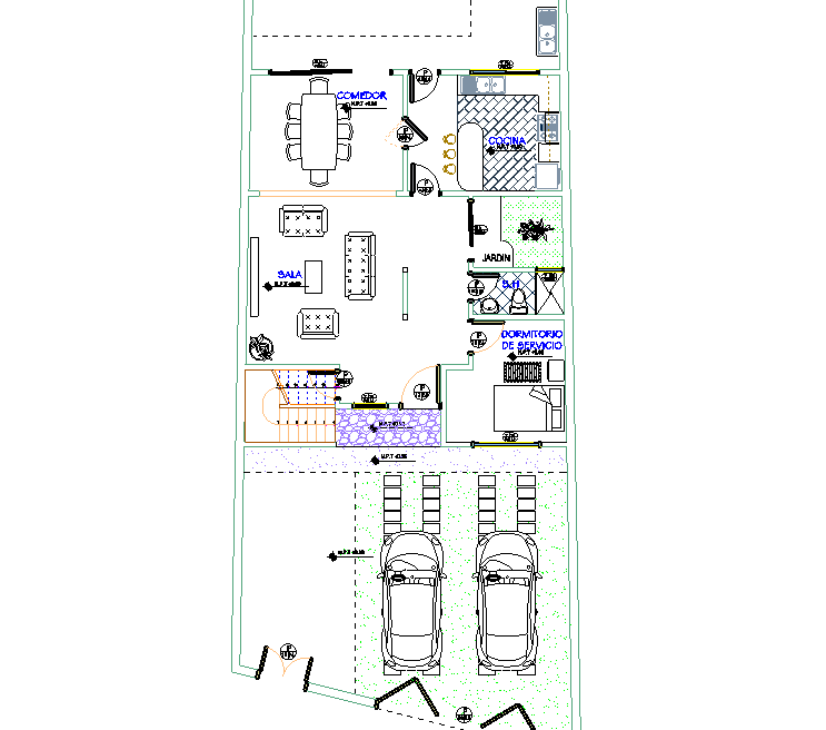 Apartment floor plan with parking area detail