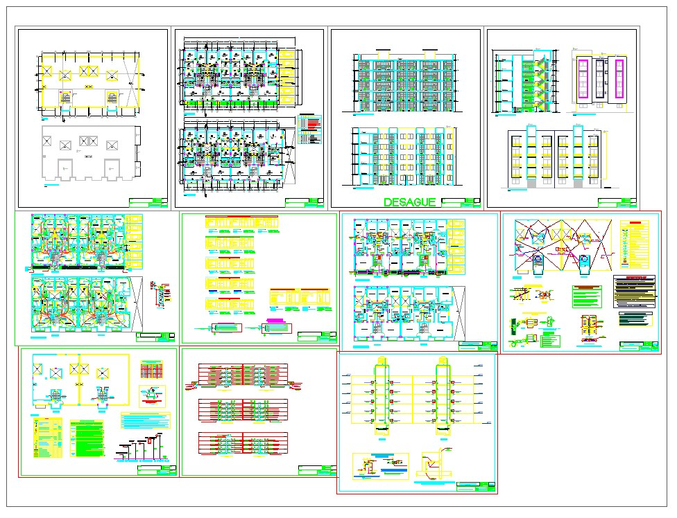 Apartment projects architecture drawing set in cad