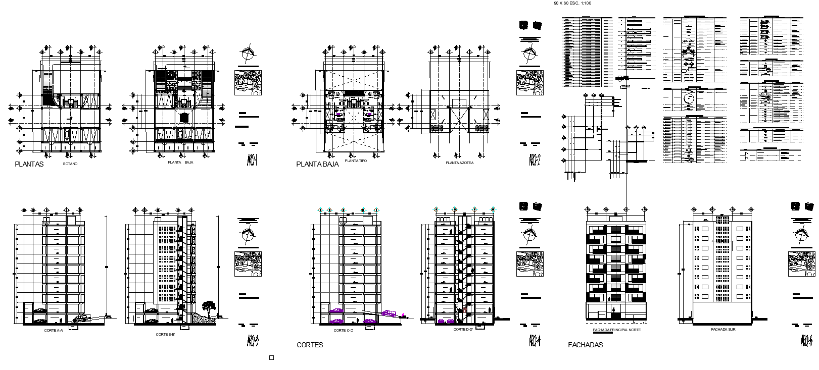 Apartments building design concrete structure layout plan and section dwg file