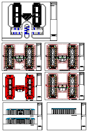 Architectural 114 rooms hostel block design drawing