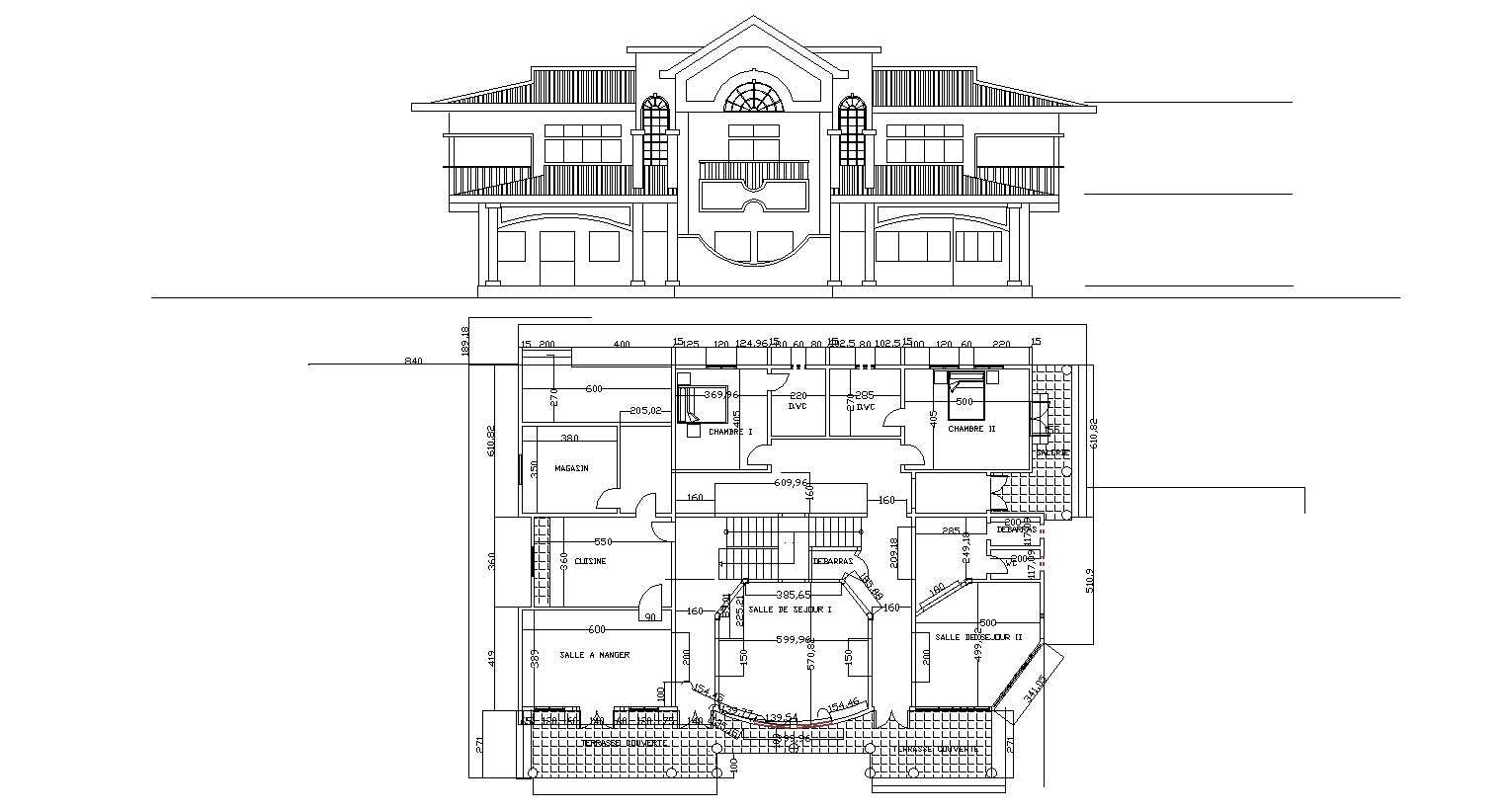 Architectural Design of Villa with Elevation in dwg file
