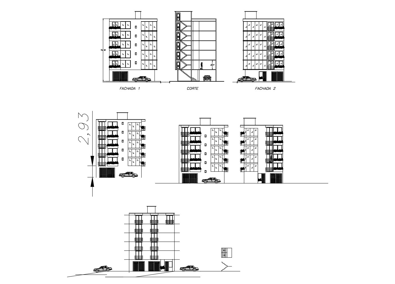 Architectural Drawing of the office building with elevation in dwg file