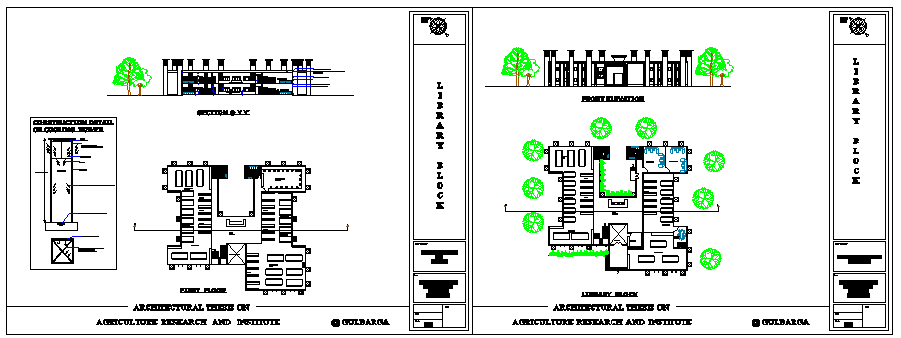 Architectural based library design drawing