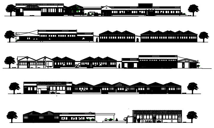 Architectural collage elevations in dwg file