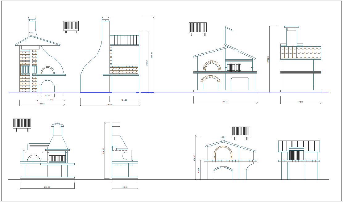 Architectural container design with different shape elevation dwg file