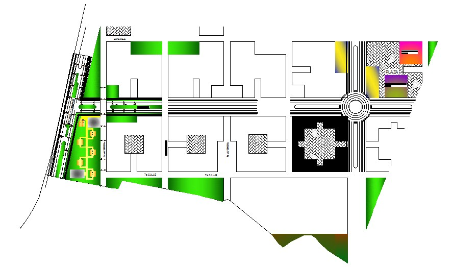 Architectural design of bungalow 20.05mtr x 21.38mtr with detail elevation and section in dwg file