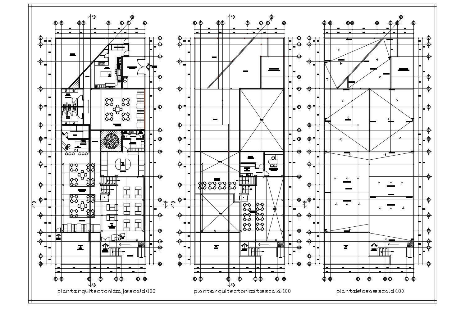 Restaurant Architectural Design in AutoCAD file