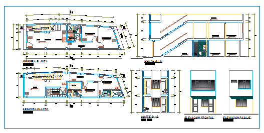 Architectural floor layout and elevation of house design drawing