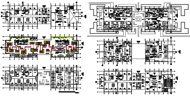 Architectural layout plan of office building design drawing