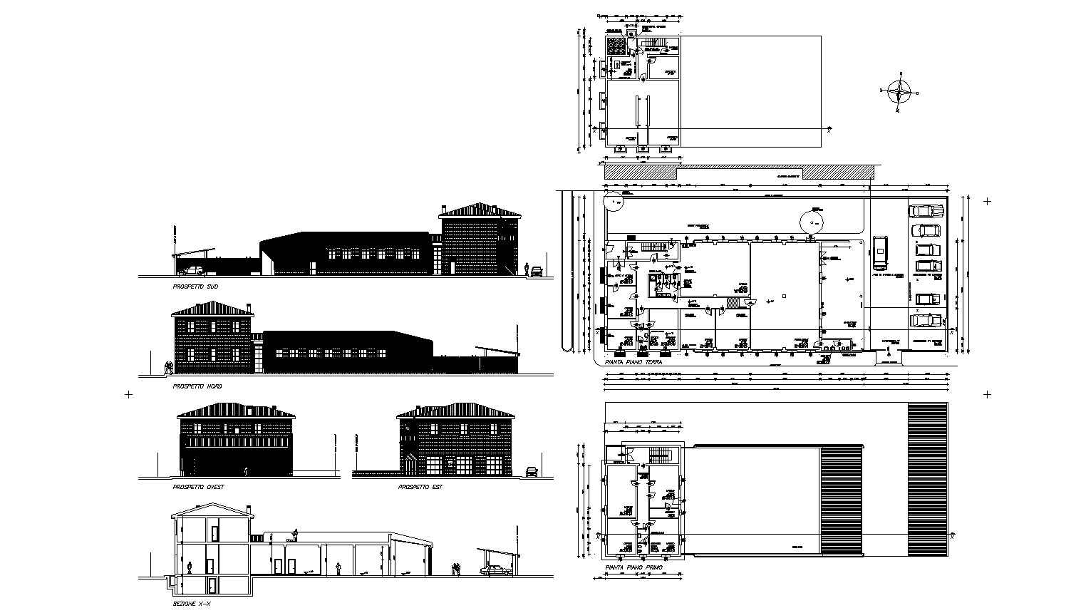 Architectural plan of Building with different section and elevation in dwg file