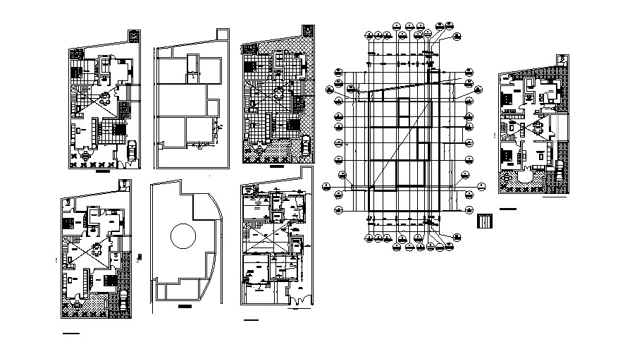 Architectural plan of bungalow 40' x 77'25'' in AutoCAD