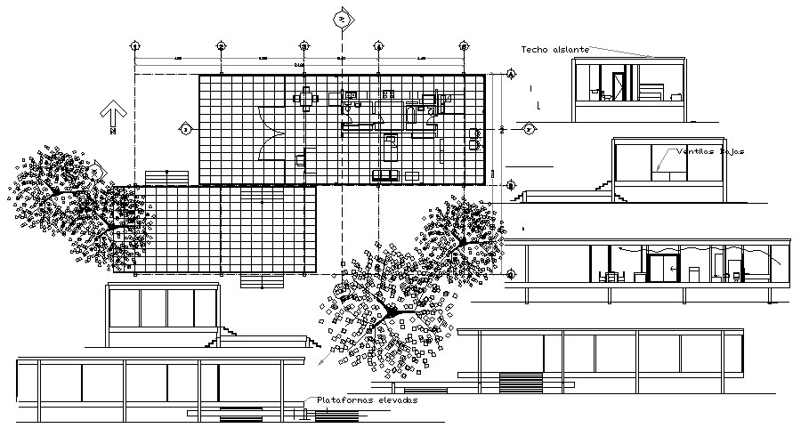 Architectural plan of house 24.80mtr x 15.10mtr elevation and section in dwg file
