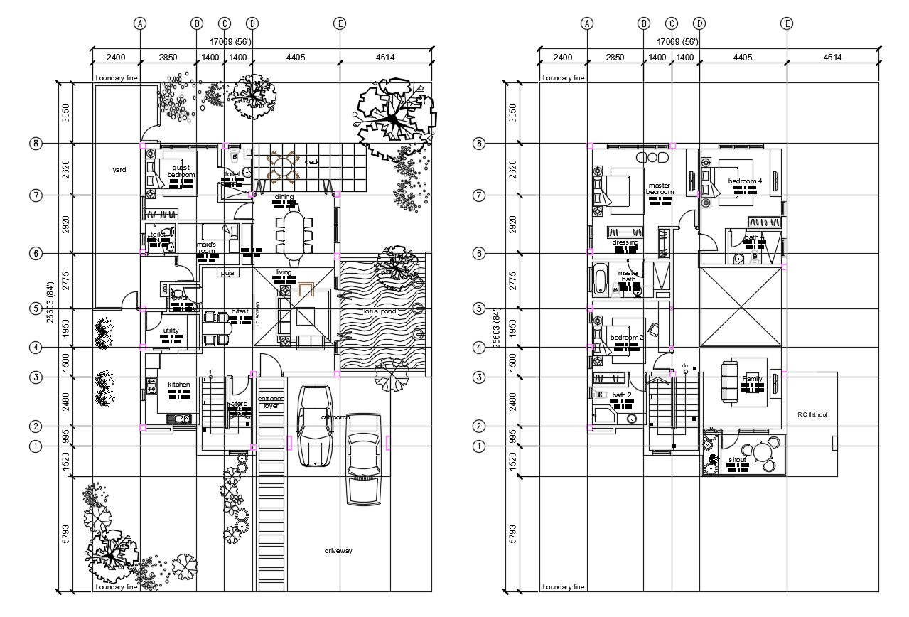 Architectural plan of house design with detail dimension in AutoCAD