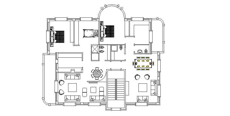 Architectural plan of house design with furniture details