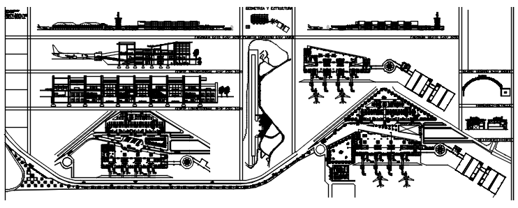 Architectural plan of the airport with detail dimension in dwg file