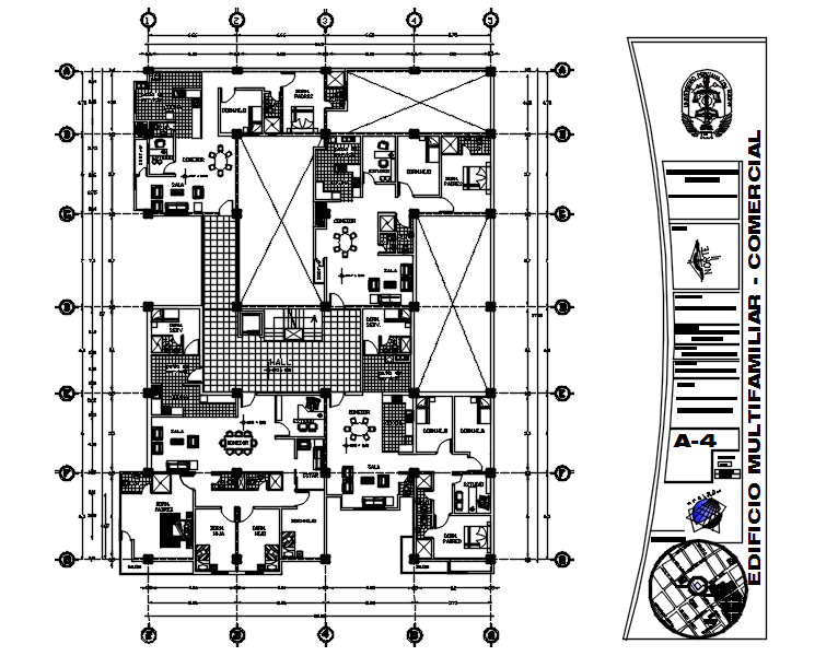 Architectural plan of the apartment with detail dimension in dwg file