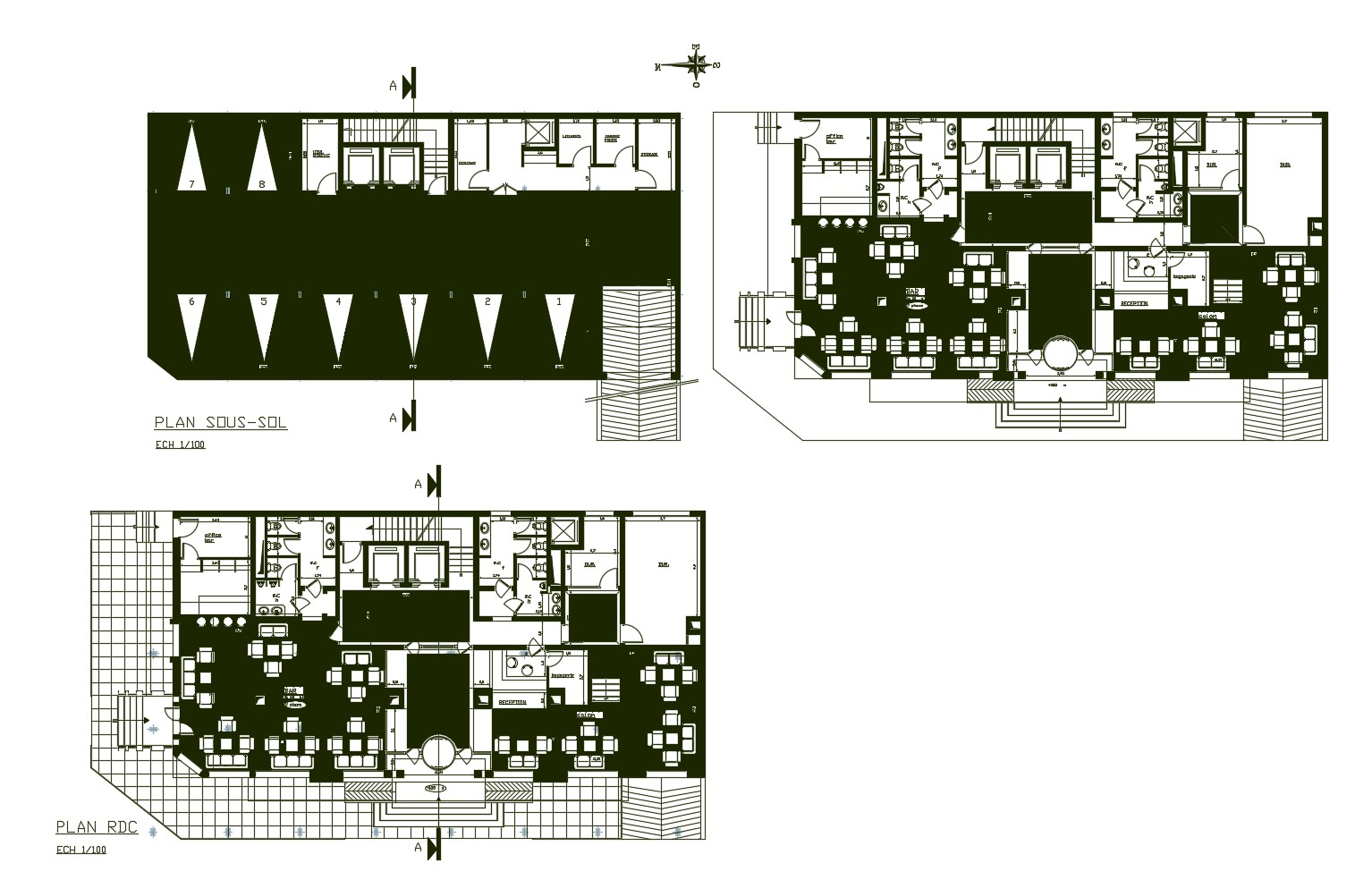 Architectural plan of the hotel building with detail dimension in AutoCAD