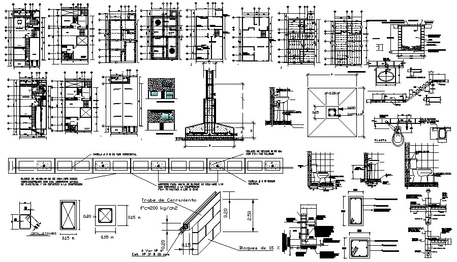 Architectural plan of the house with foundation details in dwg file