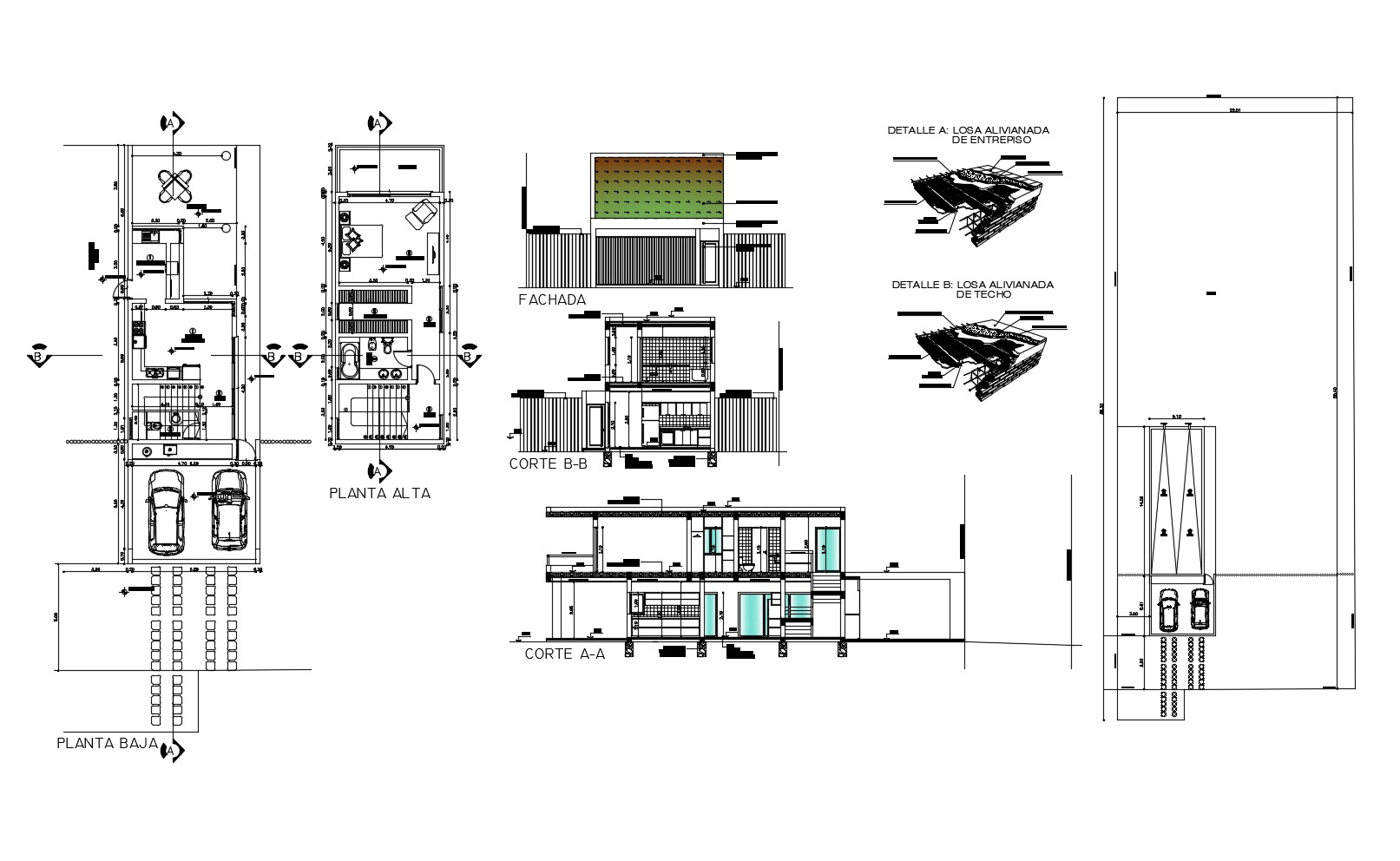Architectural plan of the residential house with elevation detail in dwg file