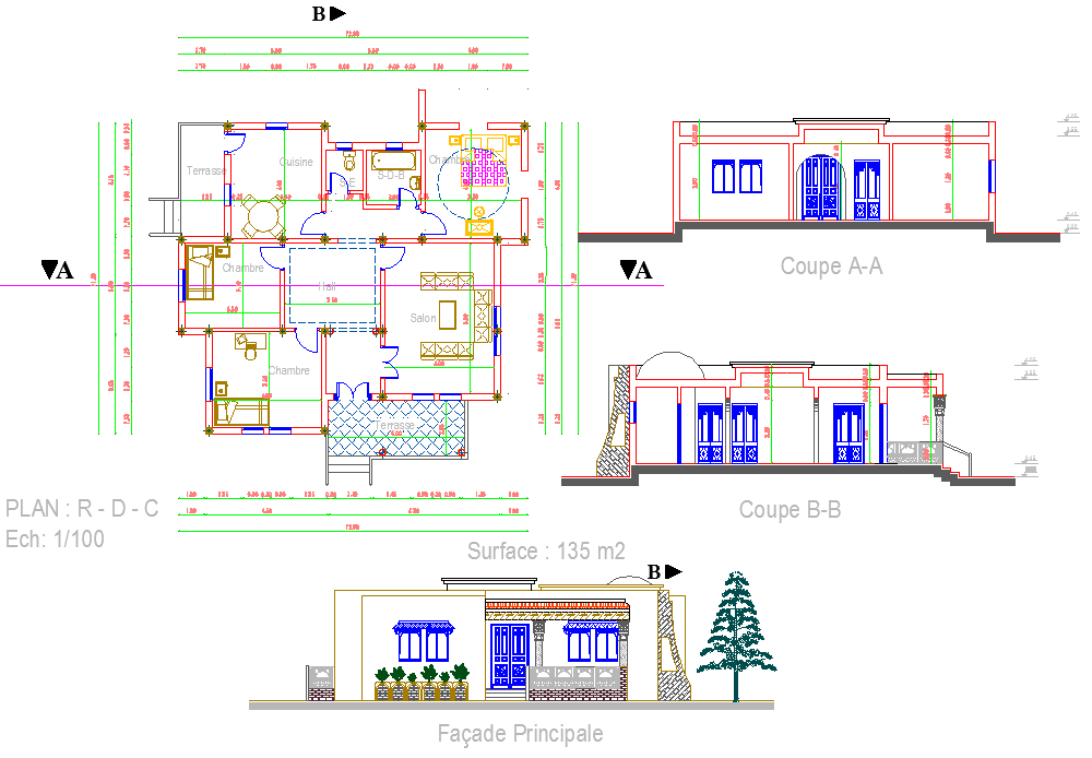 Architecture House project detail dwg file