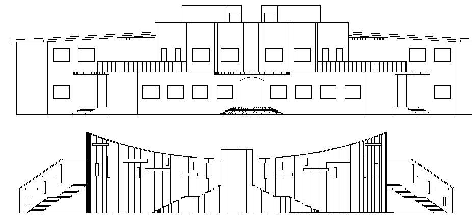 Architecture Layout of School Elevation dwg file