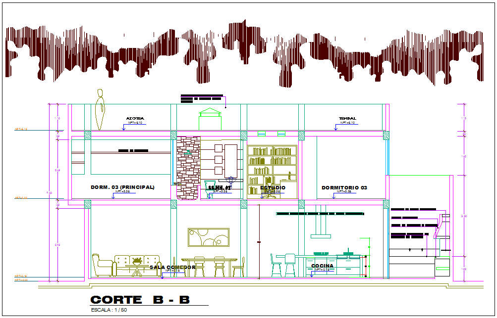 Architecture view of section B-B  for family house dwg file