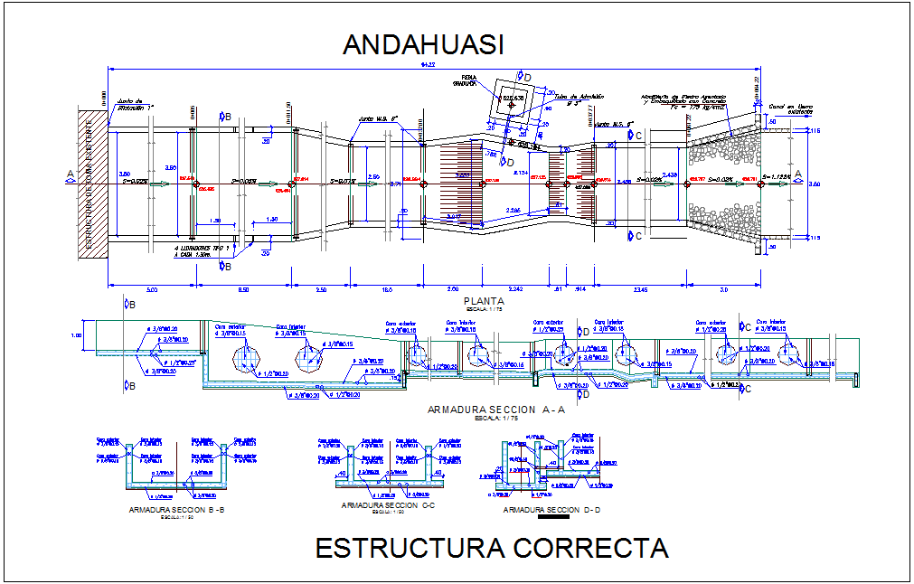 Armor structure view with plan and section view dwg file