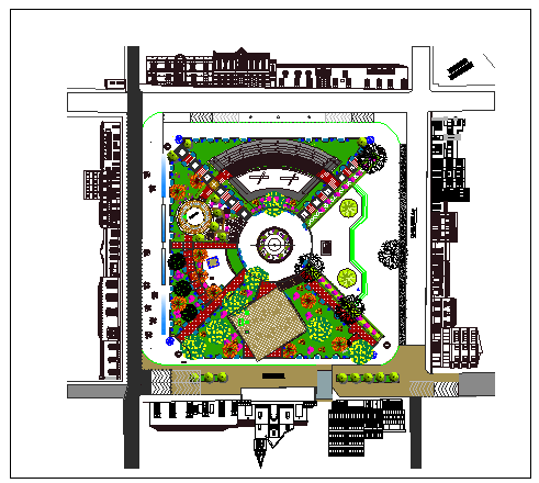 Art gallery landscaping details with all sided elevation dwg file