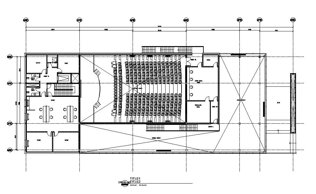 Auditorium hall ground floor plan cad drawing details dwg file