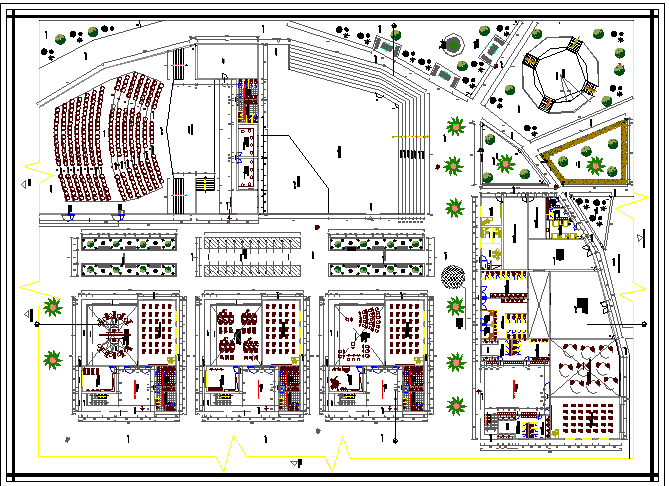 Auditorium hall landscaping design with structure details dwg file