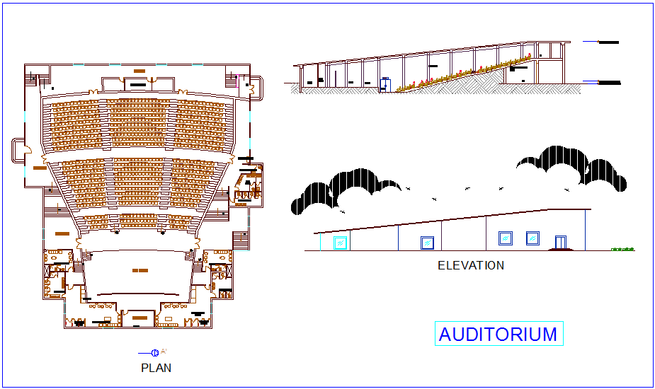 Auditorium plan,elevation and section view of collage dwg file