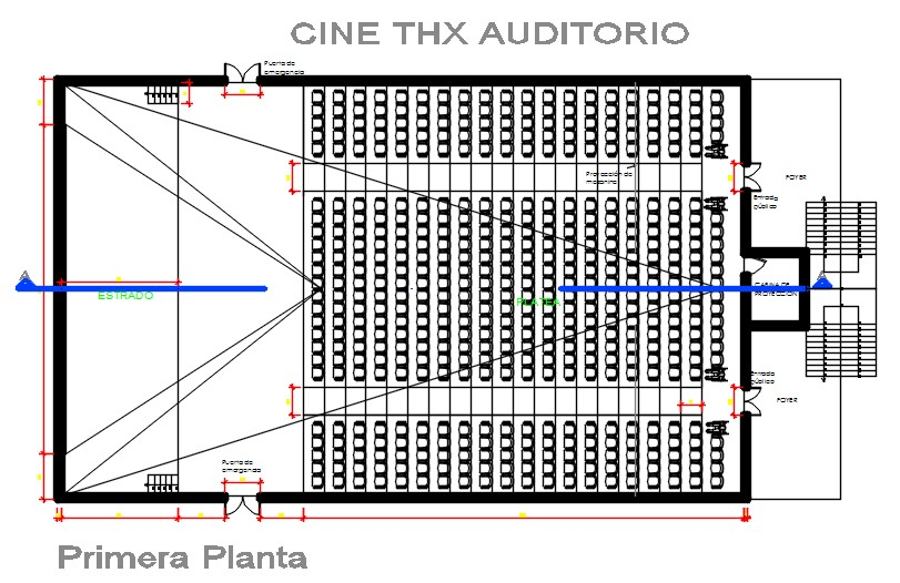 Auditorium plan and section.