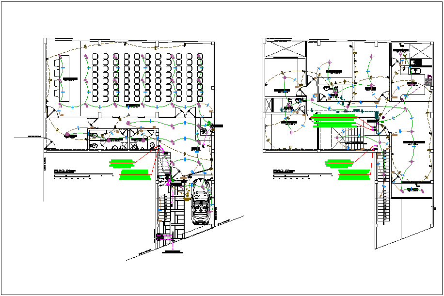 Auditorium structure electric plan layout with diagram detail dwg file
