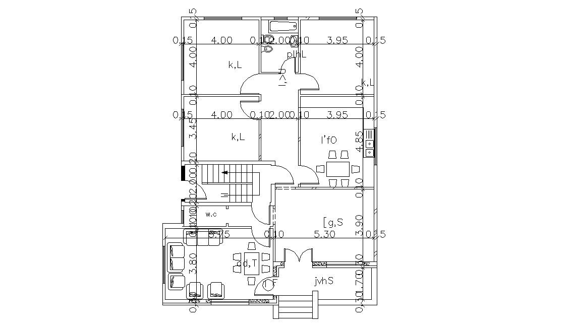 AutoCAD  3 BHK  House  Plan  Design With Dimension Cadbull