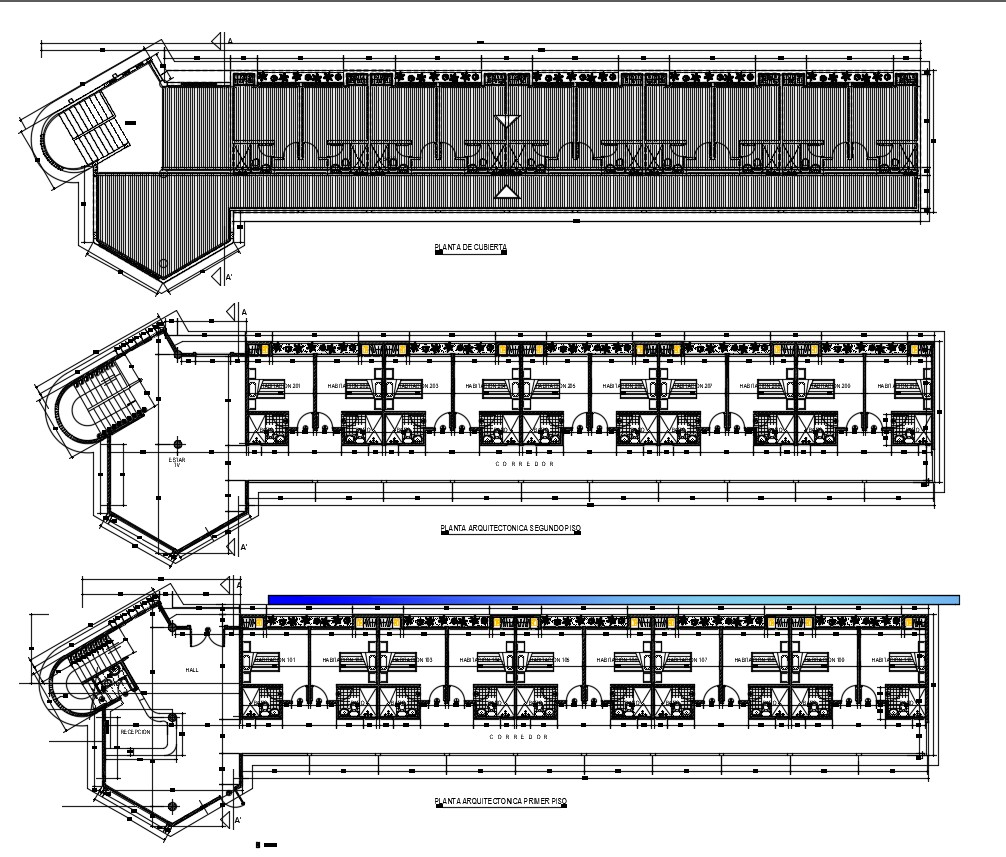 AutoCAD Design Of Hotel Room Floor Plan