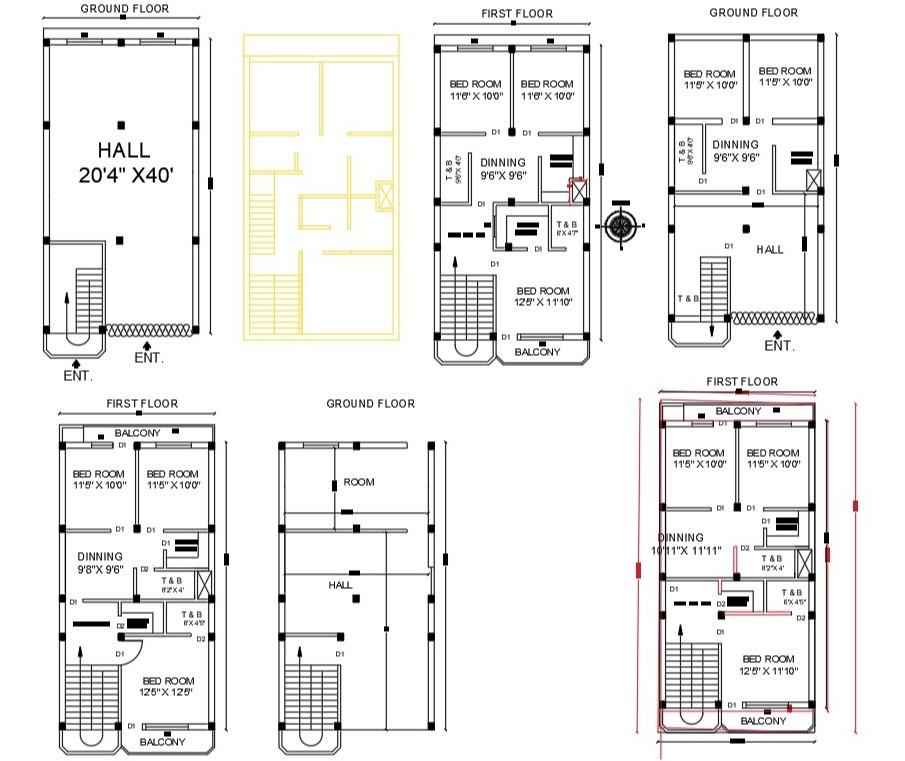 AutoCAD  3 BHK  House  Layout Plan  DWG File  Cadbull