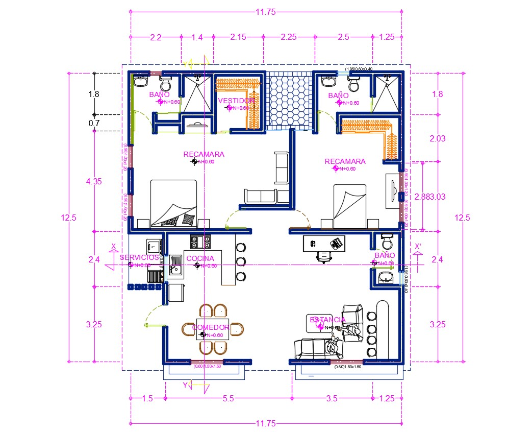 Autocad House Plan with Dimension