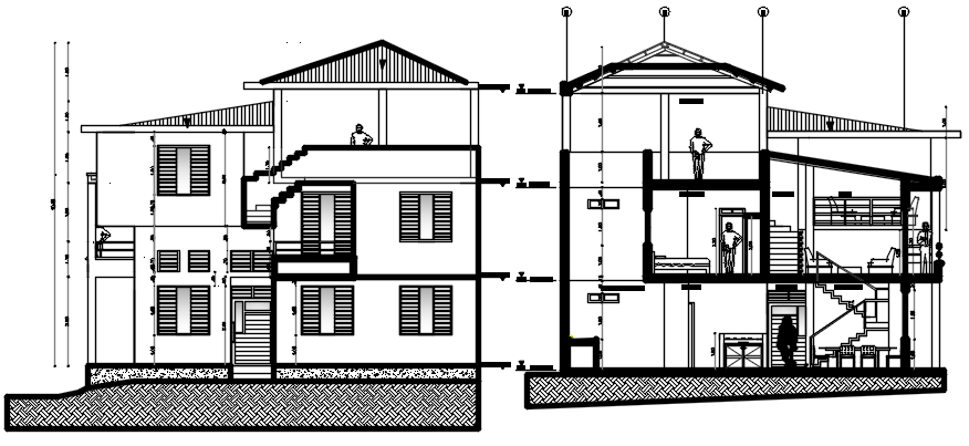 Autocad drawing of a house with section and elevation in dwg file