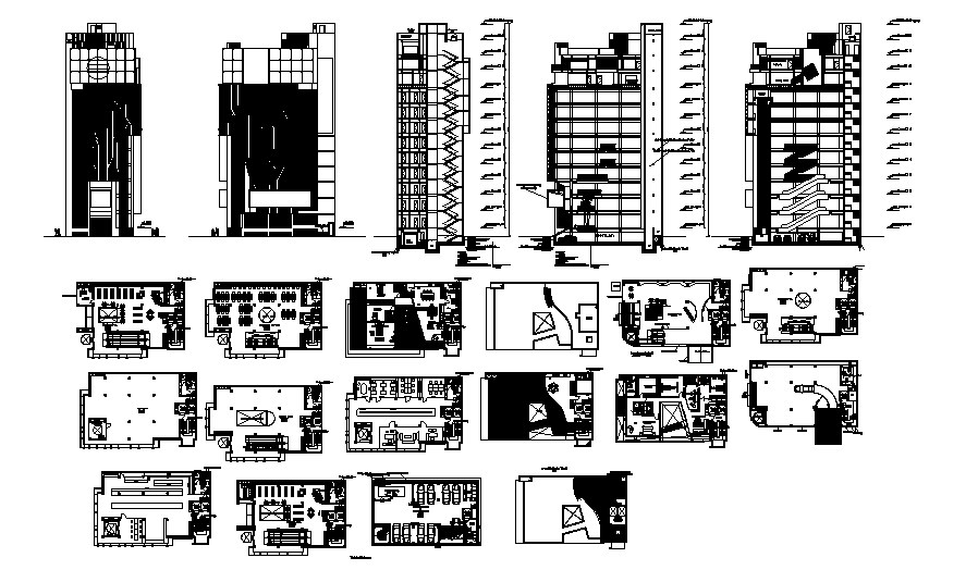 Autocad drawing of commercial complex with elevations