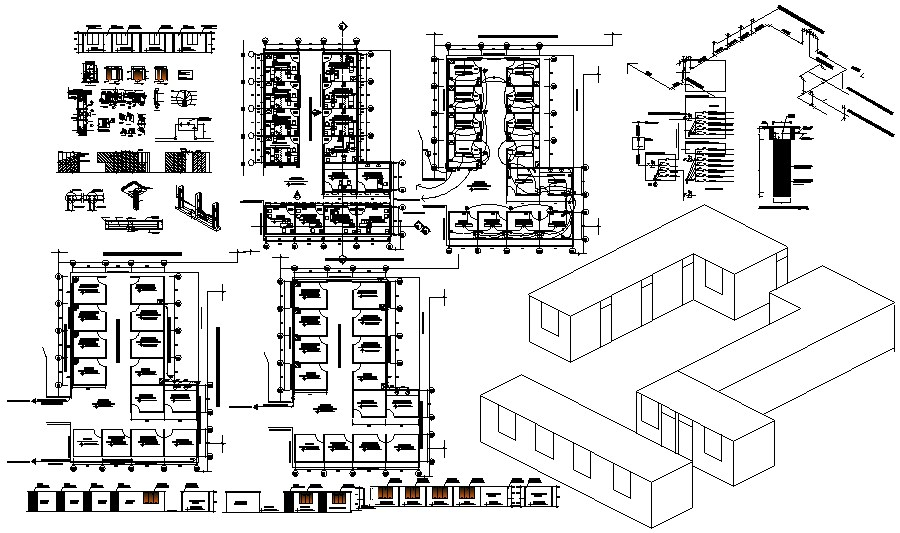 Autocad drawing of hospital with isometric view