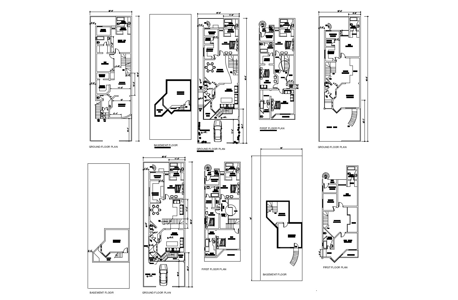 Autocad drawing of house 30'00'' x 90'00'' with furniture detail in dwg file
