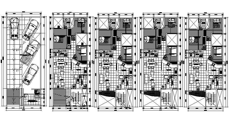 Autocad drawing of house 7.00mtr x 18.00mtr with furniture details