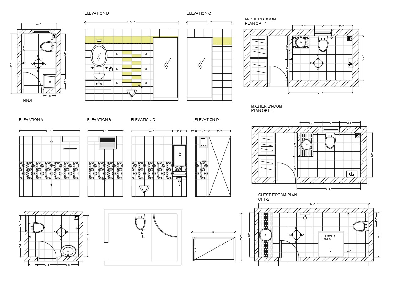Autocad drawing of master bedroom bathroom with elevations